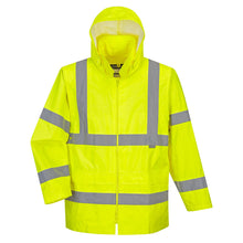 Load image into Gallery viewer, hi viz rain suits with reflective stripes. Great for wrecker driver, or anyone working on a jobsite or near the road at night.