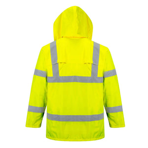back of the high visible rain suit for jobsites and road workers