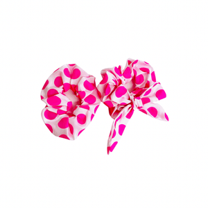 WyohFlowers Accessories Pink Polka Dot Scrunchies Pack of 2