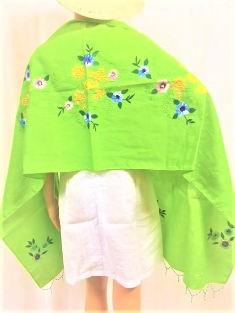 WyohFlowers Women's Clothing Avocado Embroidered and Handpainted Linen Shawl