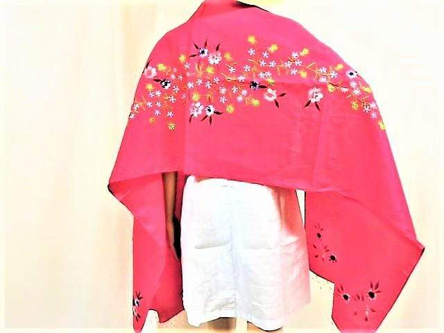 WyohFlowers Women's Clothing Cherry Red Embroidered and Handpainted Linen Shawl