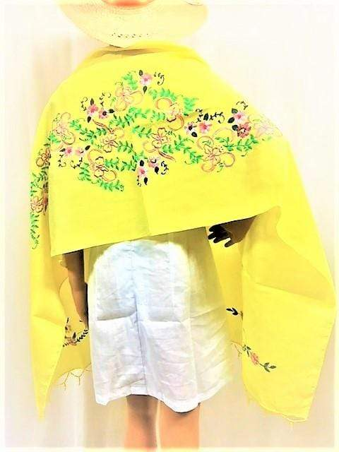 WyohFlowers Women's Clothing Lemon Yellow Embroidered and Handpainted Linen Shawl