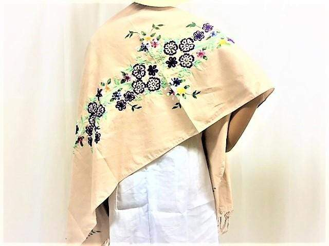 WyohFlowers Women's Clothing Natural Beige Embroidered and Handpainted Linen Shawl