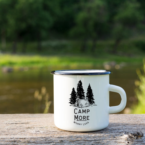 Camp More Worry Less Enamel Mug