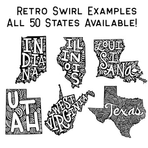 Retro Swirl Graphic Tee For All 50 States