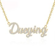 Custom Jewelry Crystal Plating Gold Sparkling Personalized Nameplate Necklace