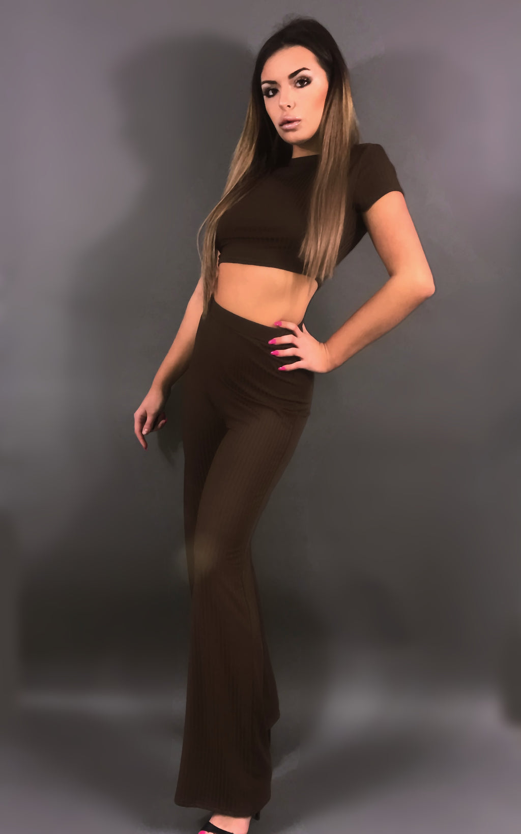 Lacey Ensemble Crop Top Pantalon - Rose ; Noir ; Marron