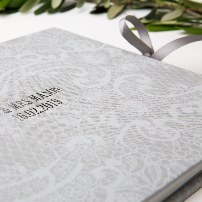 Grey Lace Wedding Guest Book