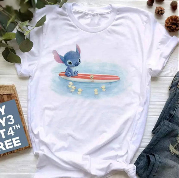 Tricou alb Stitch Little