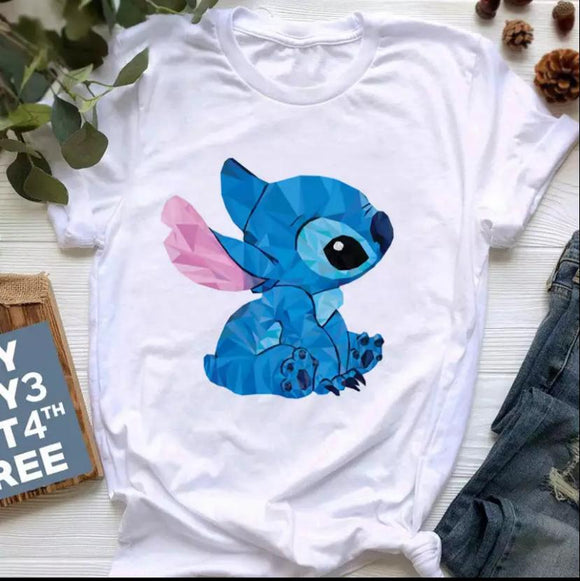 Tricou alb Stitch Cute