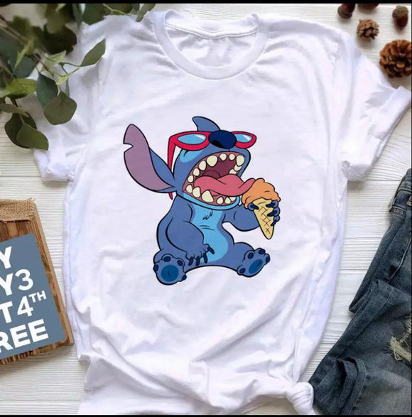 Tricou alb Stitch Ice Cream