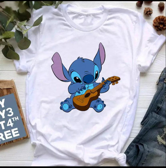 Tricou alb Stitch Curious