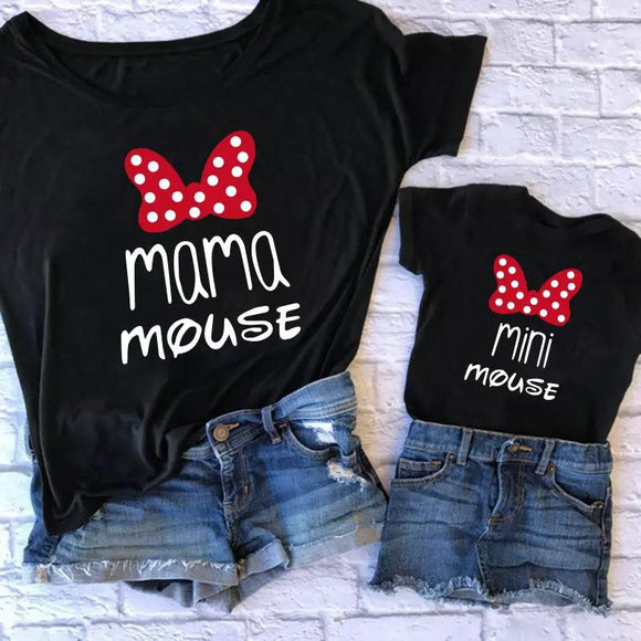 Set tricouri Mama si Copilul Negre Mama Mouse #8