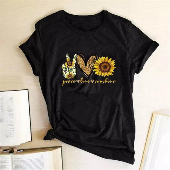 Tricou negru dama Peace Love Sunshine