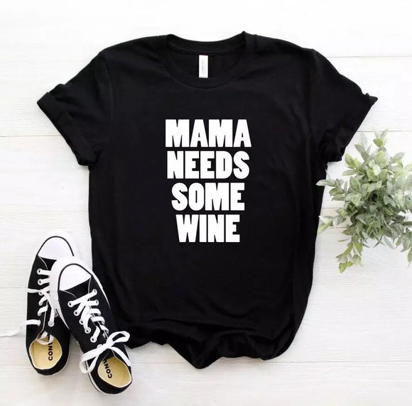 Tricou dama negru Mama Needs Some Wine