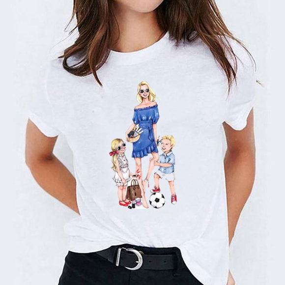 Tricou alb dama Fun Family