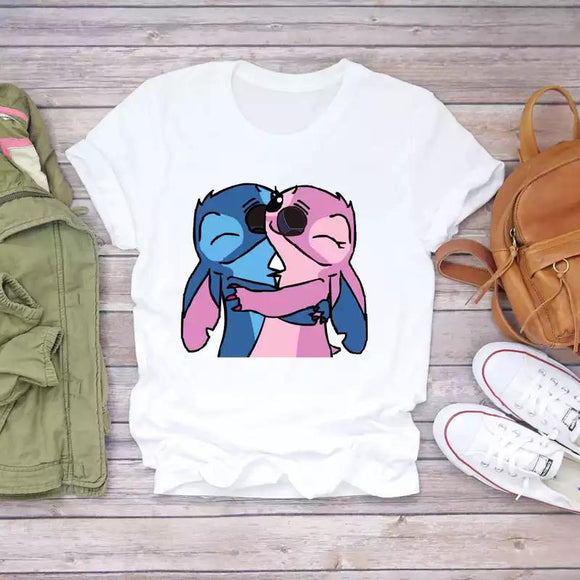 Tricou alb Free Hugs Stitch Love