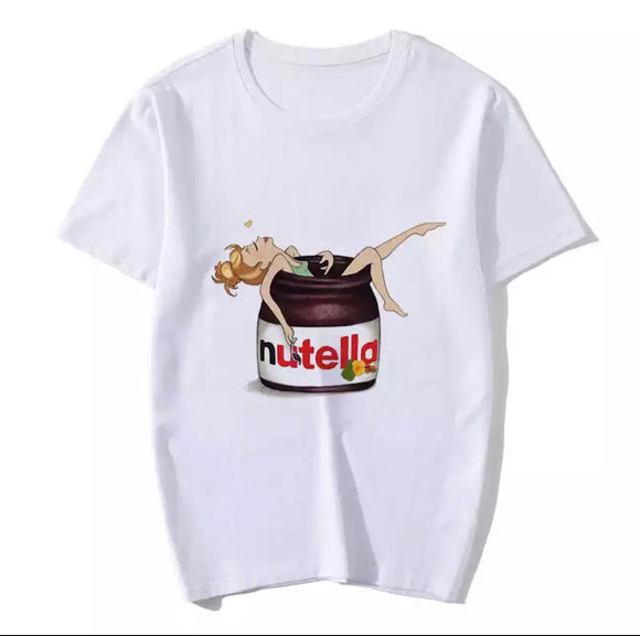 Tricou alb Jar of Nutella