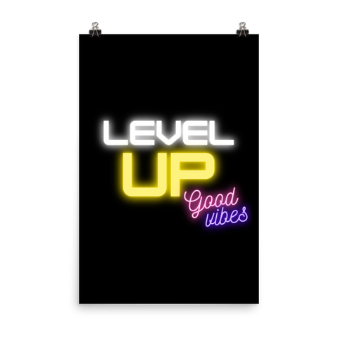 Level Up black Poster