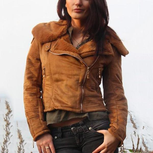 Fashion Casual Slim Sexy Short Leather Fleece Jacket