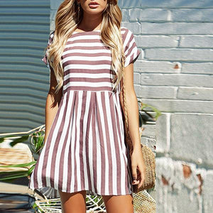 Round Neck Short Sleeve Striped Women's Loose Dress