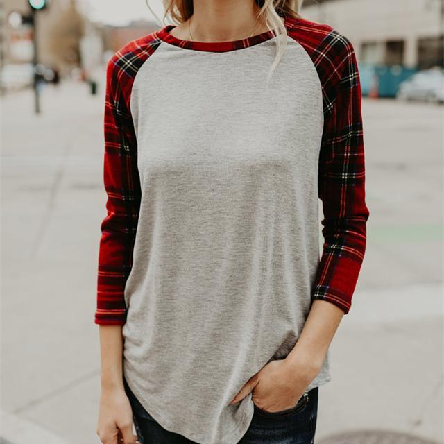 Fashion Long Sleeve Round Collar Loose And Irregular Plaid T-Shirts Blouse