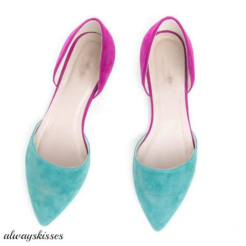 Color Matching Pointed Hollow Sandals