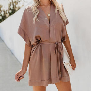 Fashion V Neck Short Sleeve Pure Colour Casual Dresses