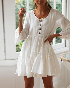 Button Pleated Large Round Neck Mini Dress
