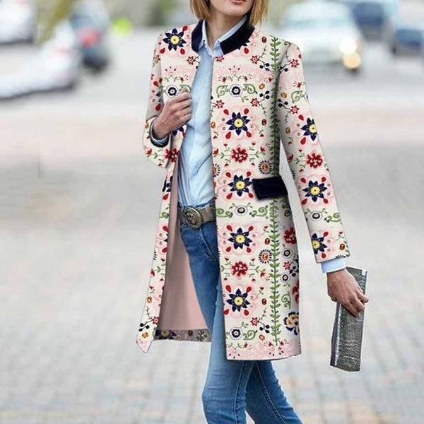 Fashion Floral Pattern Printed Long Sleeve Bodycon Coat