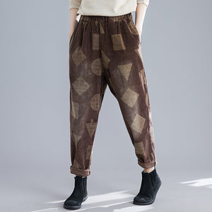 Womens Retro Printed Colour Casual Pants