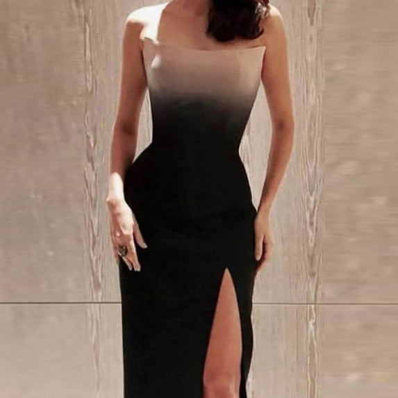 Sexy Tube Top Slit Evening Dress