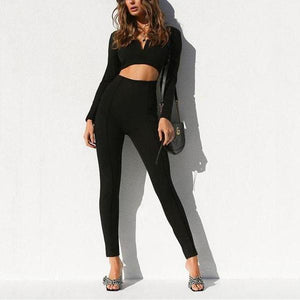 Casual Fashion Pure   Color Long Sleeves Sexy Backless Jumpsuits