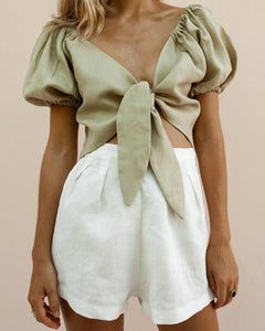 V-Neck Knotted Puff Sleeves & Shorts Suit
