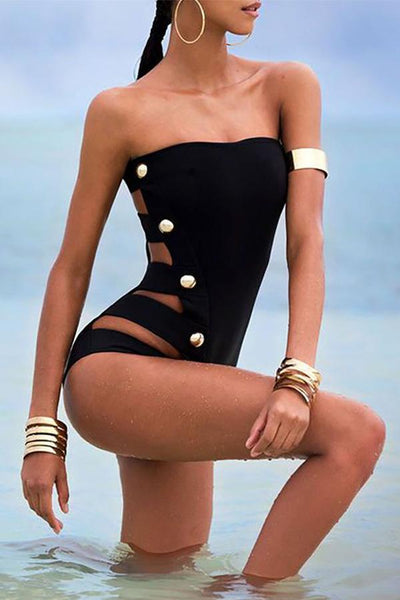 Collarless  Beading  Plain One Piece