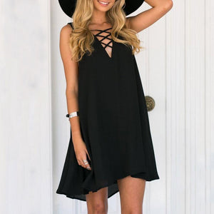 Chiffon V-Neck Lace Up Plain Casual Dresses