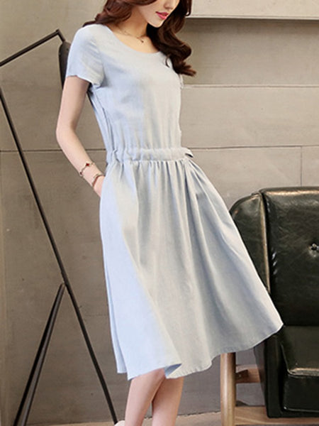 Casual Summer Drawstring Solid Skater Dress