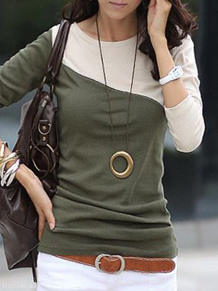 Autumn Spring  Cotton Blend  Women  Round Neck  Color Block  Long Sleeve Long Sleeve T-Shirts