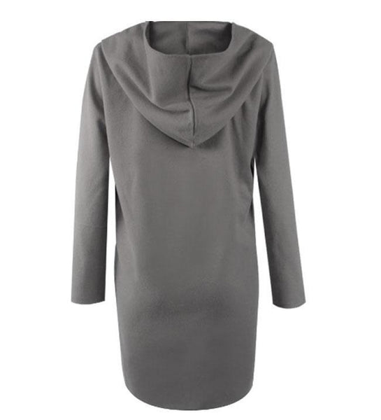 Hooded  Asymmetric Hem Plain Outerwear