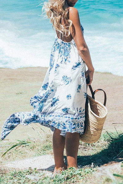 Spaghetti Strap  Backless  Floral Casual Dresses