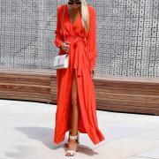 V Collar Maxi Dress For Vacation
