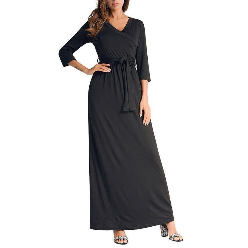 Sexy Deep V Collar Plain Tie Belt Large Pendulum Plain  Maxi Dress