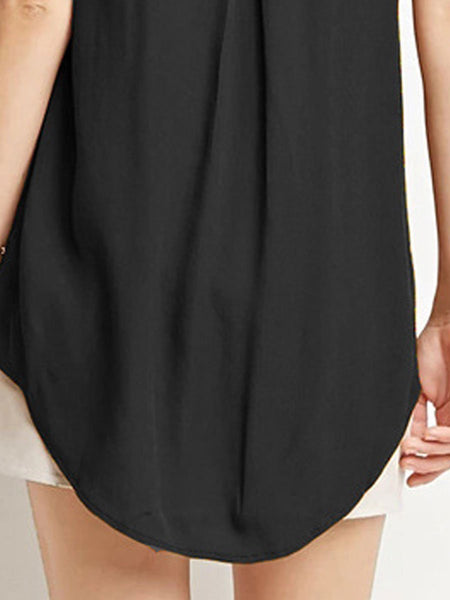 Summer  Polyester  Women  V-Neck  Asymmetric Hem  Plain  Sleeveless Blouses