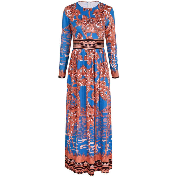 Prited Long Sleeve Round Veck Maxi Dresses