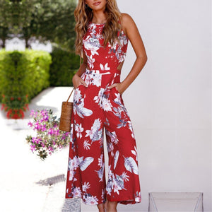 Fashion Floral Print Sleeveless Jumpsuit