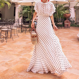Fashion Round Collar Dot Maxi Dress