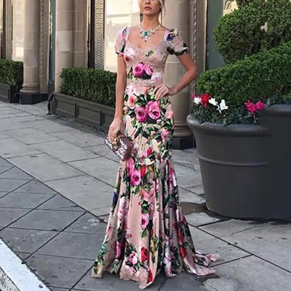 Short-Sleeve Fashion Printed Slim V-Neck Floral Maxi Evening Dress