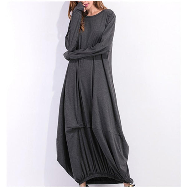 Long Sleeve Round Neck Lantern Maxi Dress