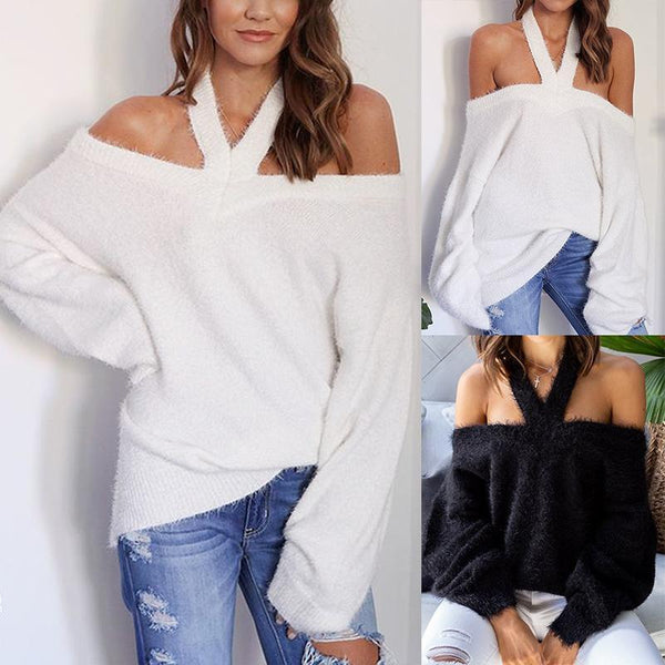 Sexy Halter Backless Long Sleeve Plain Knitting Sweaters