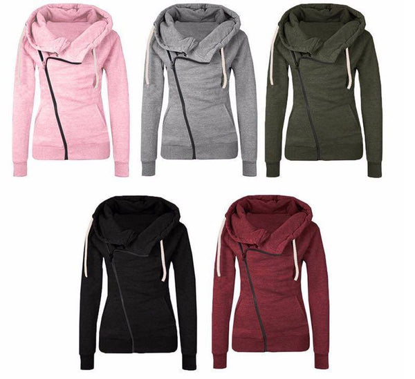 Long Sleeve Lapel Pocket Diagonal Zipper Hoodies